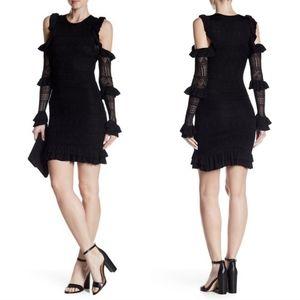 Ronny Kobo Janie cold shoulder ruffled dress black